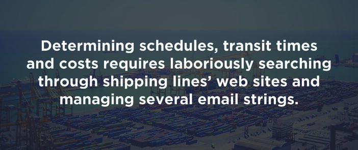 Determine the sailing schedule, times and costs requires laboriously search
